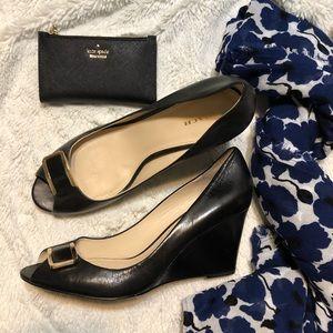 Coach leather wedge heels with peep toe